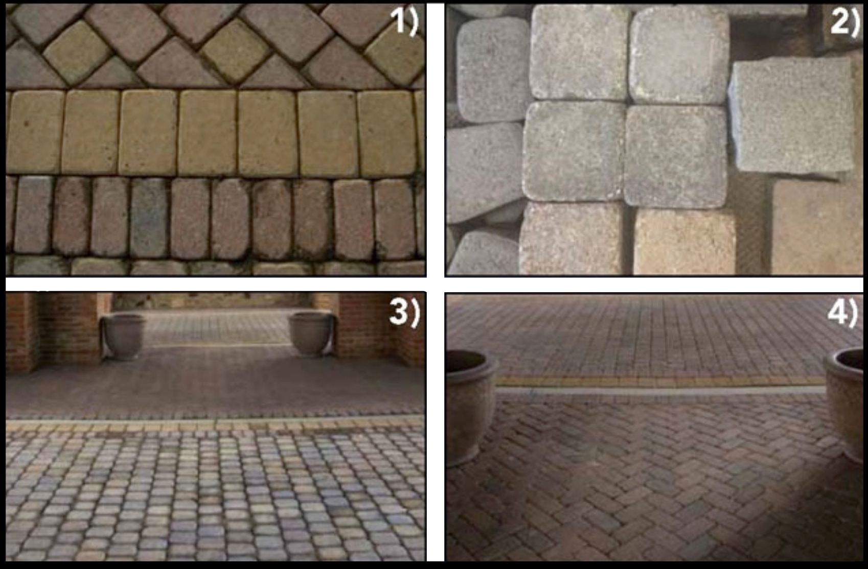 In old world design, DO get creative with concrete. (1) Red and yellow pavers mimic Spanish tile. (2&3) Mimic granite cobble by using tumbled concrete without a chamfer or by using pavers installed upside down. (4) Tumbled concrete pavers mimic brick in traditional herringbone pattern.